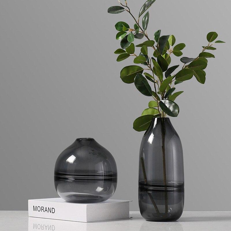 modern Transparent glass Flower vase Hydroponics Flower arrangement Accessories Home living room table decoration vase Creative