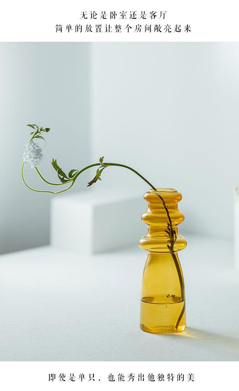 Creative color glass vase Transparent Crafts Decoration Flower arrangement Hydroponics Modern home desktop decoration vases