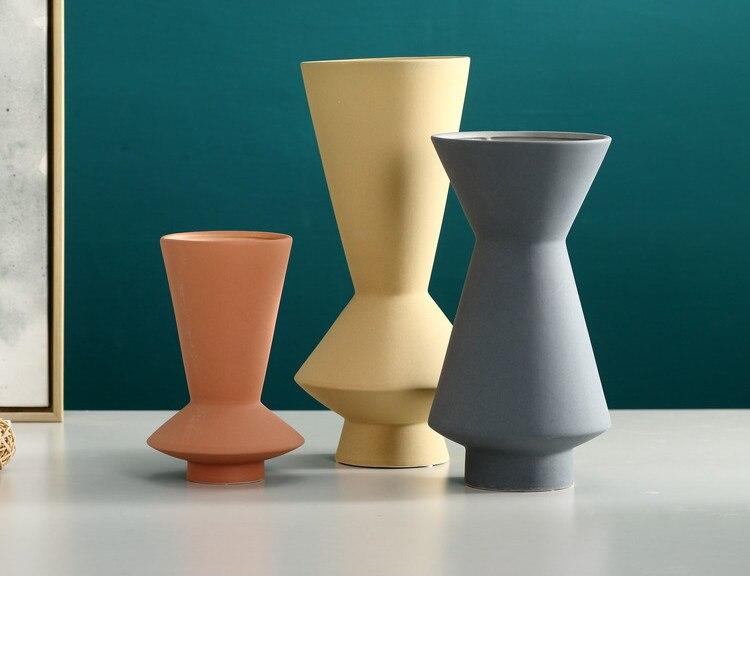 Nordic Creative ceramics abstract geometric vase Flower arrangement Scrub ceramics Modern home decoration wedding vases