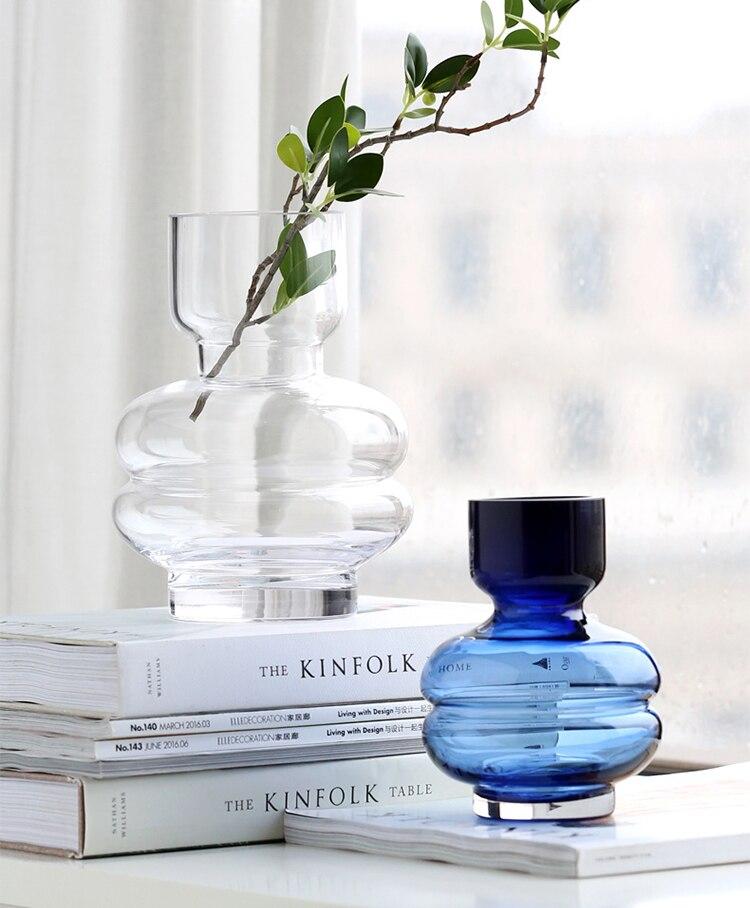 Creative Nordic glass Transparent vase Modern home Living room desktop Flower arrangement Hydroponics irregular decoration
