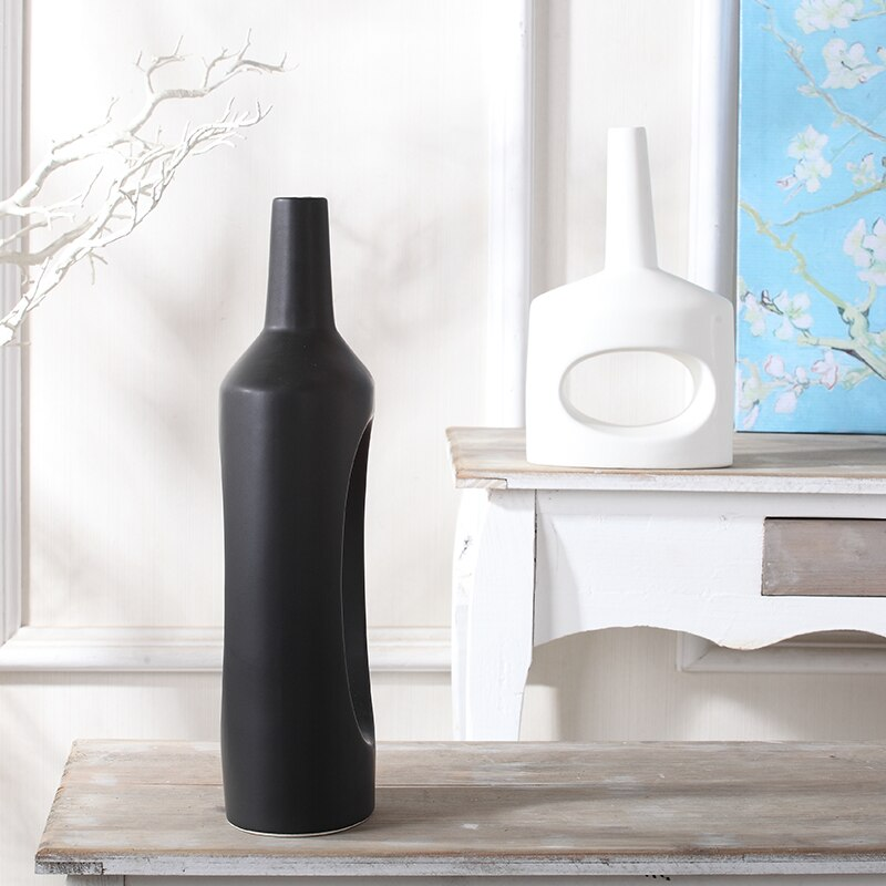 Nordic ceramics vase Modern home decoration accessories living room Creative Hollow Handmade Crafts Flower arrangement