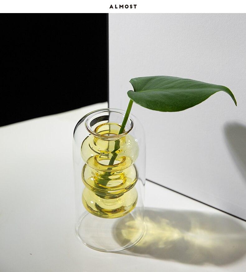 Nordic modern color glass Hollow design vase Flower arrangement accessories Hydroponics Modern home decoration flowers vases