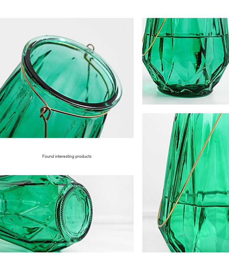 Creative Nordic glass green vase Hydroponics Home Decorations living room desktop Flower arrangement Decorative ornaments