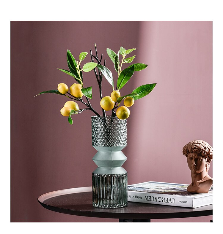 Nordic Transparent Emboss glass vase living room Flower arrangement Decoration modern dining table Decorative accessories