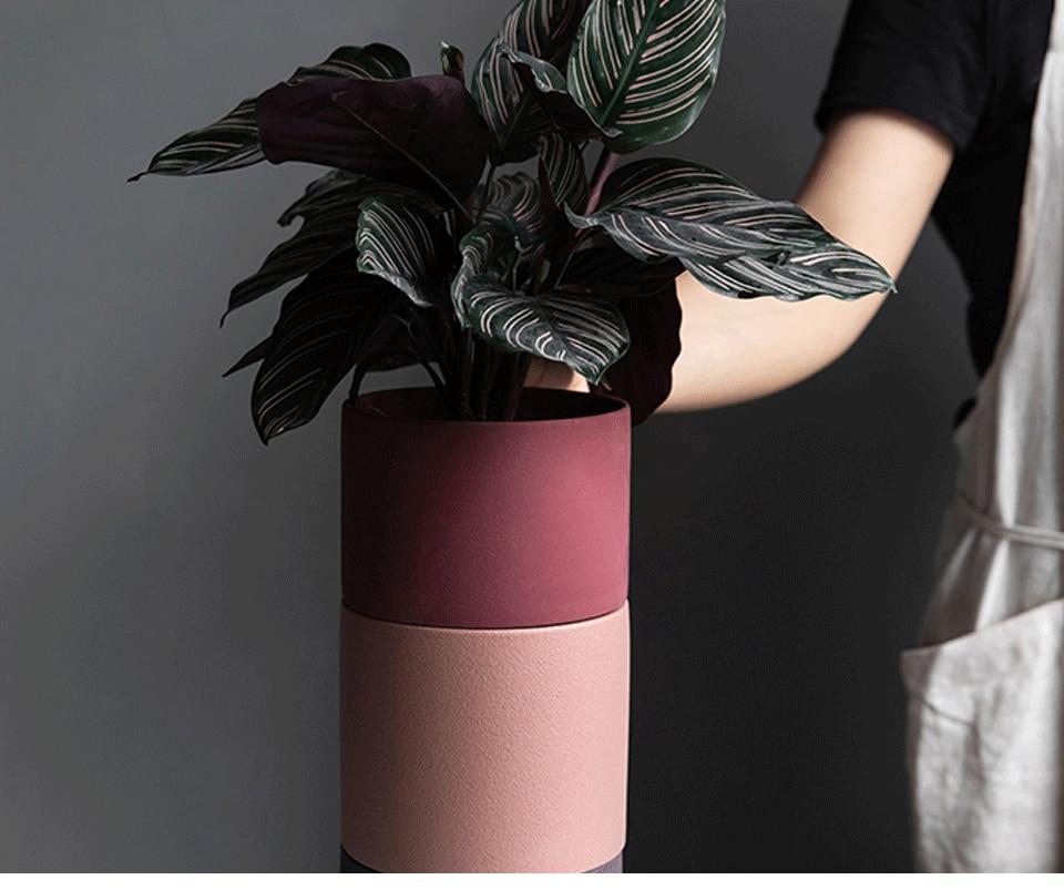 Nordic Simple Ceramic Flower Pot Three Tiered Ceramic Flower Pot Succulent Flower Tray Green Plant Shelf Home Decoration Supplie