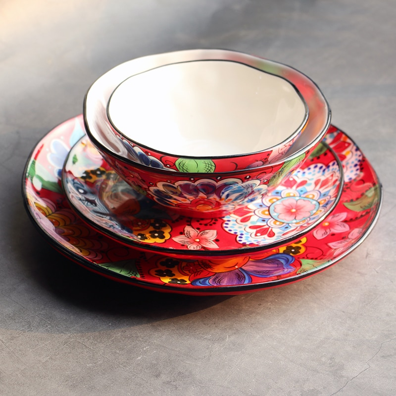 kitchen Individual Hand-painted Creative Marriage Red Traditional Chinese Ceramic Tableware Household Vegetable Plate Bowl  West