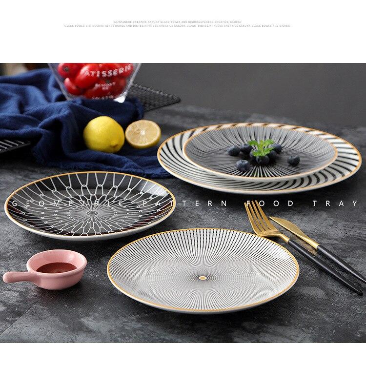 Phnom Penh Ceramic Geometry Round Plate 6/8/10 Inch Ceramic Dinner Tableware Plate Dish Porcelain Dessert Dinnerware Cake Plate
