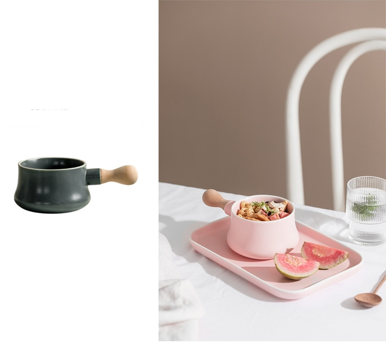 Ceramic Milk Bowl with Wood handle Porcelain Plate Tray Plate Creative Dish Desserts Plate Tableware Breakfast Set Pink Gray
