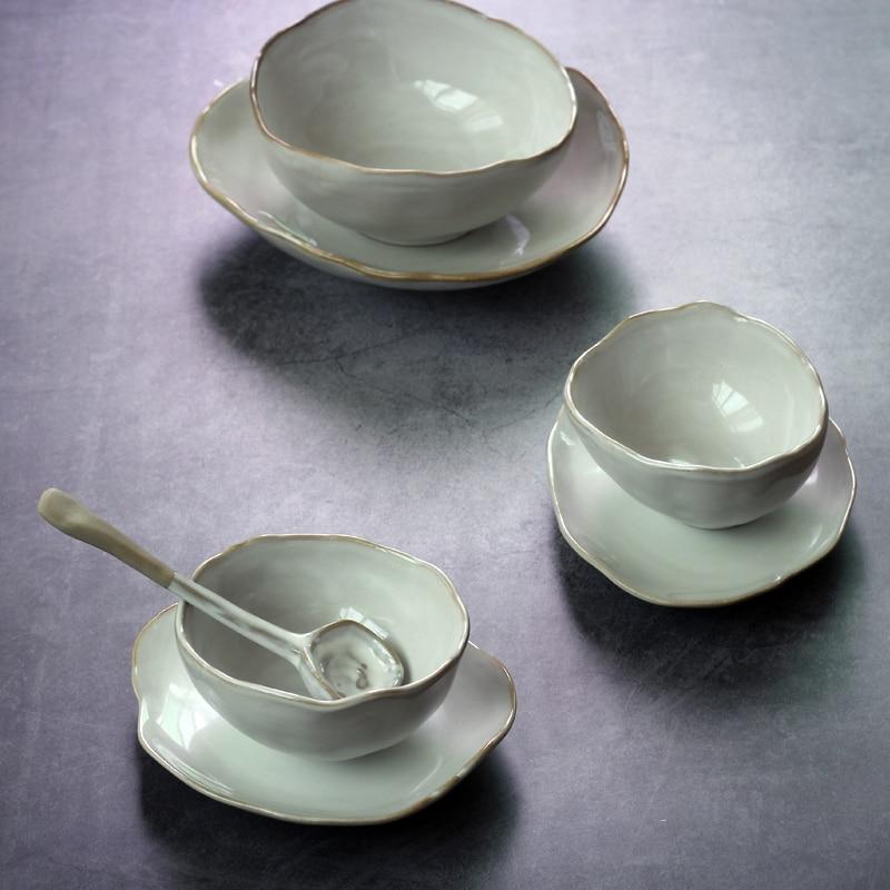 Nordic Ceramic Kitchen Tableware Irregular Rice Bowl Dessert Salad Bowl Seasoning Bowl Dinner Plate Sauce Dish Dessert Plate