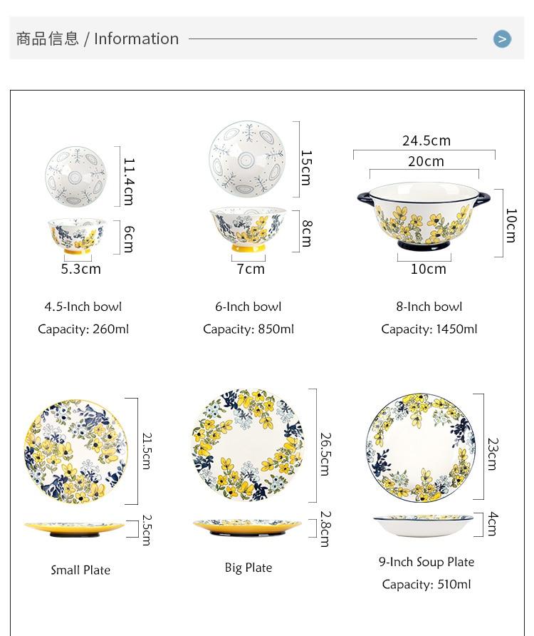 EECAMAIL Japanese Flower Fan Series Baking Tableware Hand-painted Ceramic Ramen Bowl Soup Bowl Plate Mug Ceramic Bowl Soup Dish