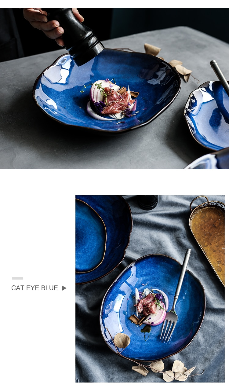 KINGLANG Nordic Ceramic food dish plate household pottery irregular dish salad platter dish dinnerware