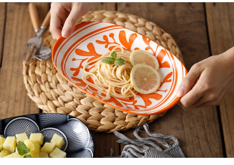 Japanese ceramic plate creative home steamed fish plate net red restaurant tableware meal plate 10 inch oval dinner plateLB42708
