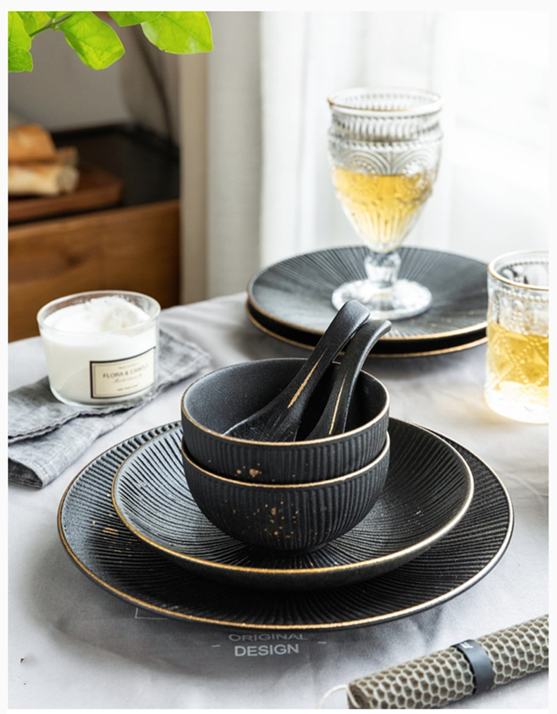 Phnom Penh Household Kitchen Tableware European Creative Steak Plate Black Ceramic Dishes Spoon  Bowl Dish Flatware Set