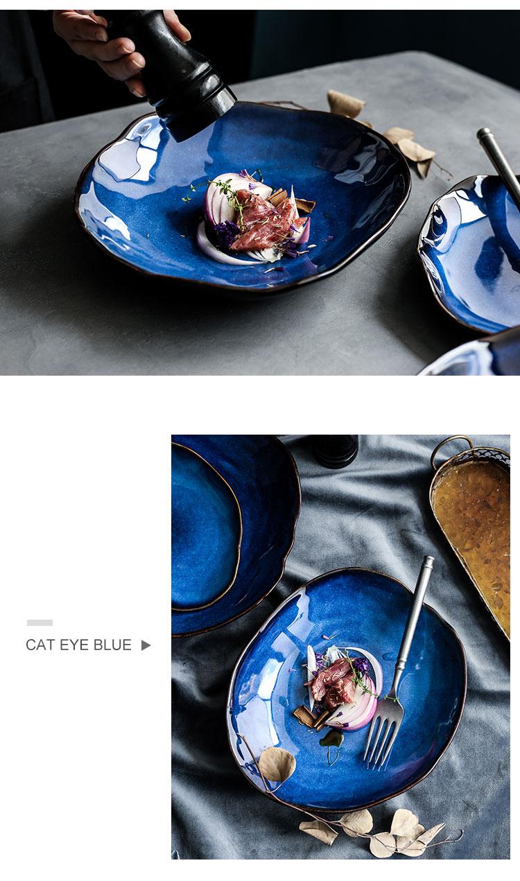 Creative irregular ceramic plate salad Sushi steak plate dinner plates Household kitchen tableware Dessert cake plates