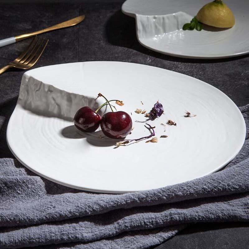 2 Size Tableware Ceramic Dish Plate Irregular Porcelain Creative Kitchen Table Modern European Decorative Dessert Steak Tray