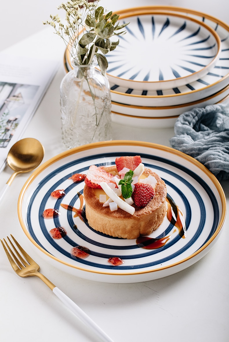 Japanese Underglaze hand painting Ceramic Food Plate breakfast handlebowls dish Plate Set Porcelain Tray Household Tableware