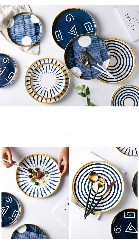 European 8/10 Inch Plate Phnom Tableware Ceramic Dinner Plate Tray Dish Porcelain Dessert Dinnerware Cake Plate 1PC