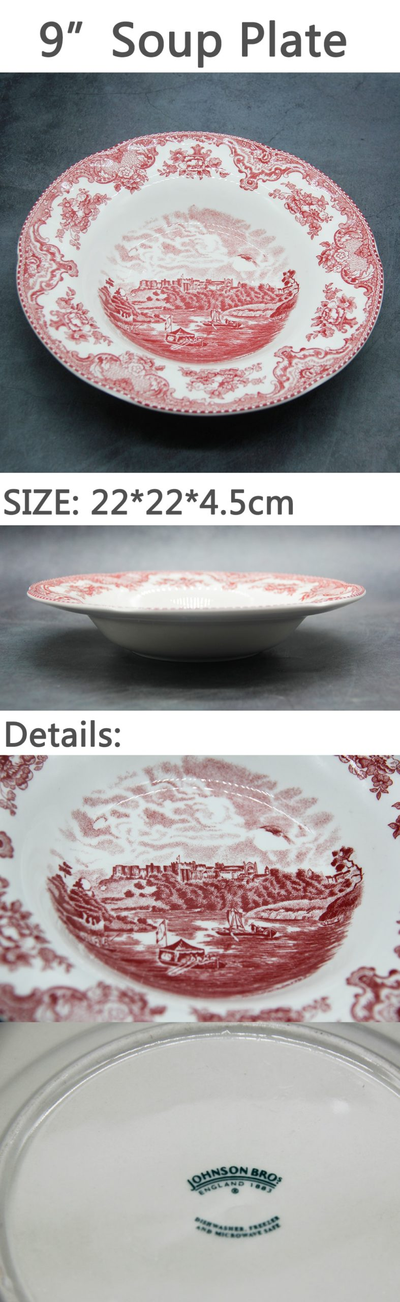 The Old Britain Castles Pink Dinner Set European Style Dinner Ware Ceramic Breakfast Plate Beef Dishes Dessert Dish Soup Bowl