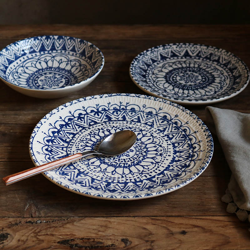 Dinner Plates Bohemian blue geometric pattern underglaze ceramic plate
