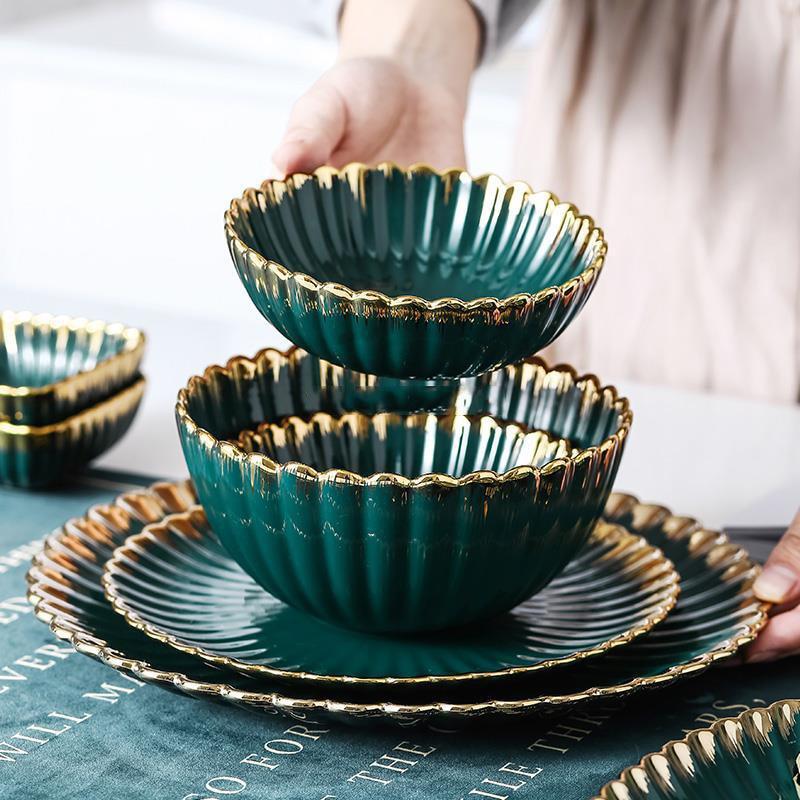 Nordic Phnom Penh Chrysanthemum Plate Creative Ceramic Tableware Oval Disc Soup Salad Bowl Flavor Dish Kitchen Porcelain