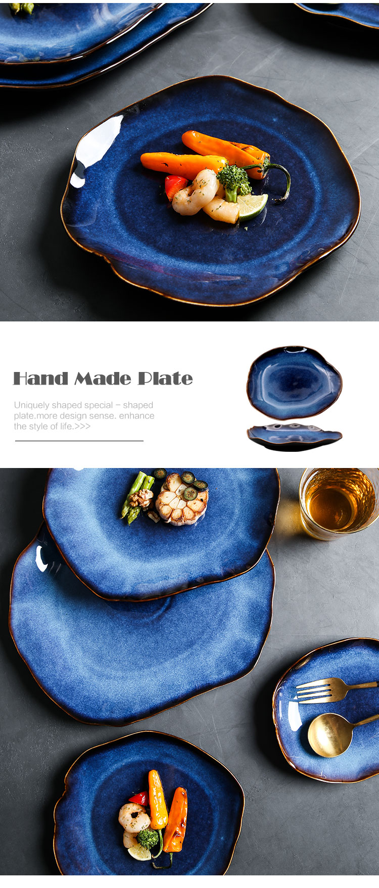 KINGLANG NEW Japanese Ceramic Food Dish Flat Plate Pottery Irregular Dish Dinnerware Dropshipping Wholesale Dishes