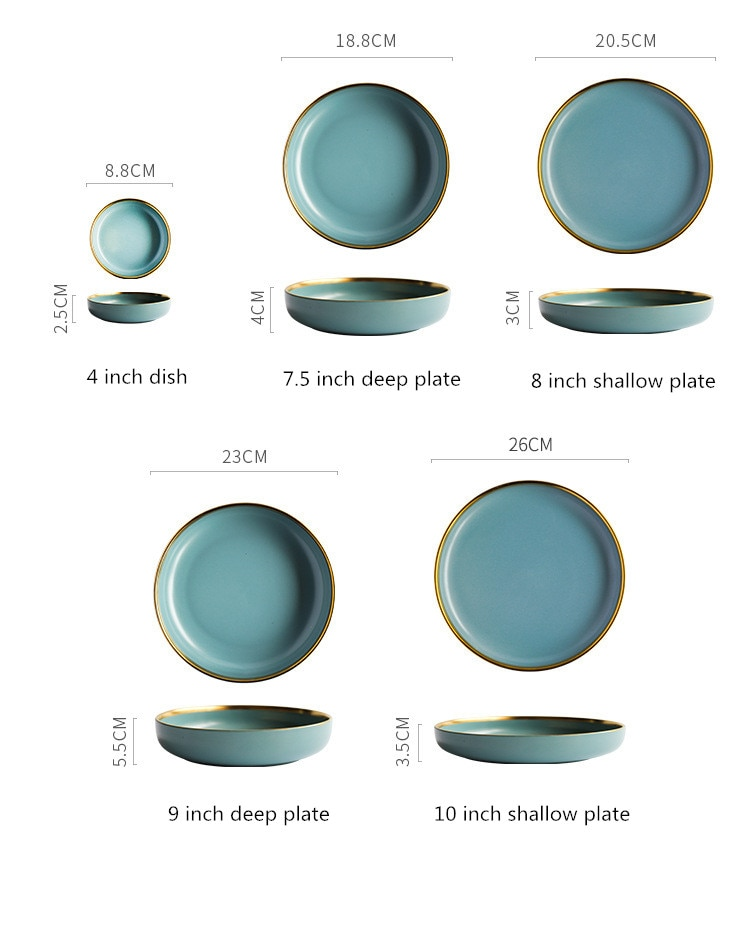 Solid Color Porcelain Plate Gold Inlay Ceramic Plates Tableware Food Dishes Rice Salad Steak Bowl Soup Dessert Dish Dinnerware