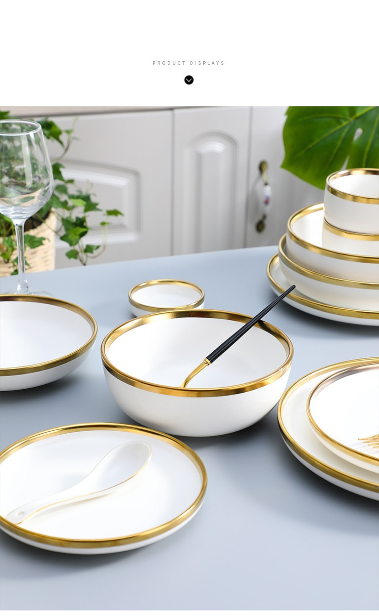 Gilt Rim White Porcelain Dinner Plate Set Kitchen Plate Ceramic Tableware Food Dishes Rice Salad Noodles Bowl Mug Cutlery Set 1p