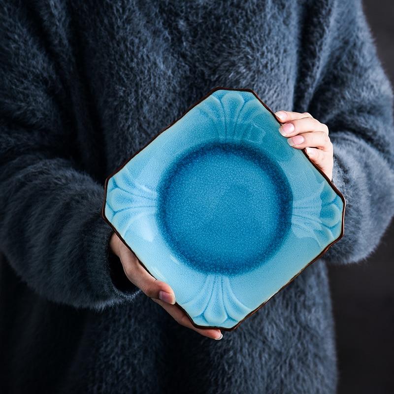 Japanese Blue Ceramic Food Plates Thick Lips Dinner Plate Salad Bowl Saucer Rectangle Dish Fish Plate Dinnerware Set Wholesale