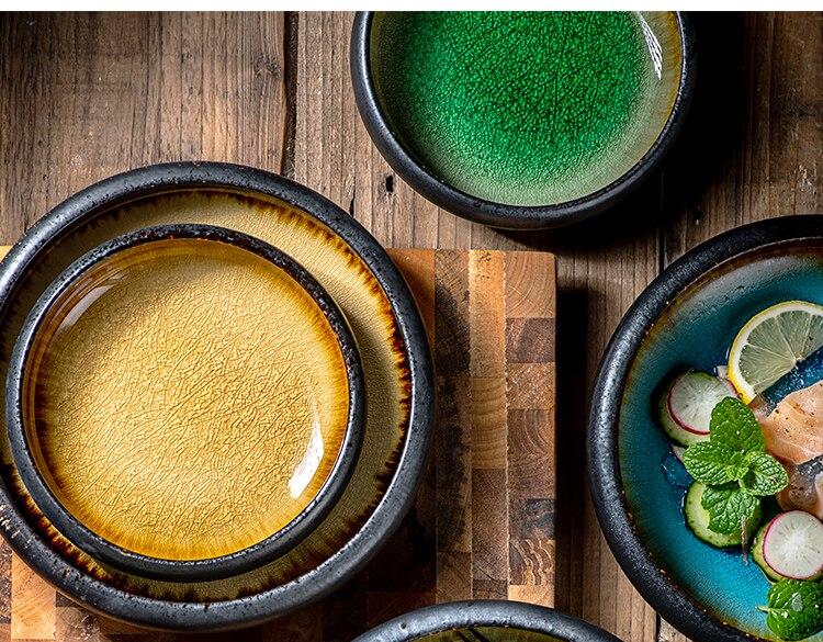 Creative Kiln Ice Cracked Glaze Ceramic Plate Dish Japanese Sushi Sashimi Plate Dinner Plate Dinner Plate Salad Plate
