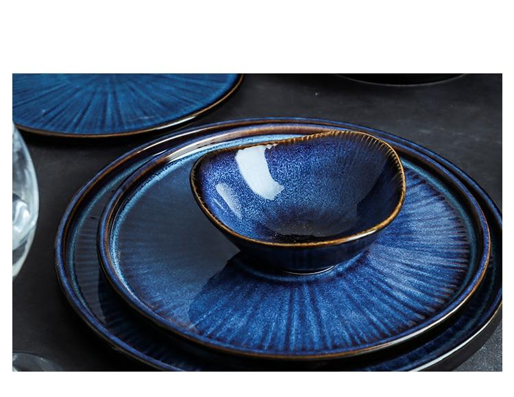 ANTOWALLNordic Klin Glaze Blue Color ceramic tableware home flat plate deep steak dish breakfast dinner plate big bow