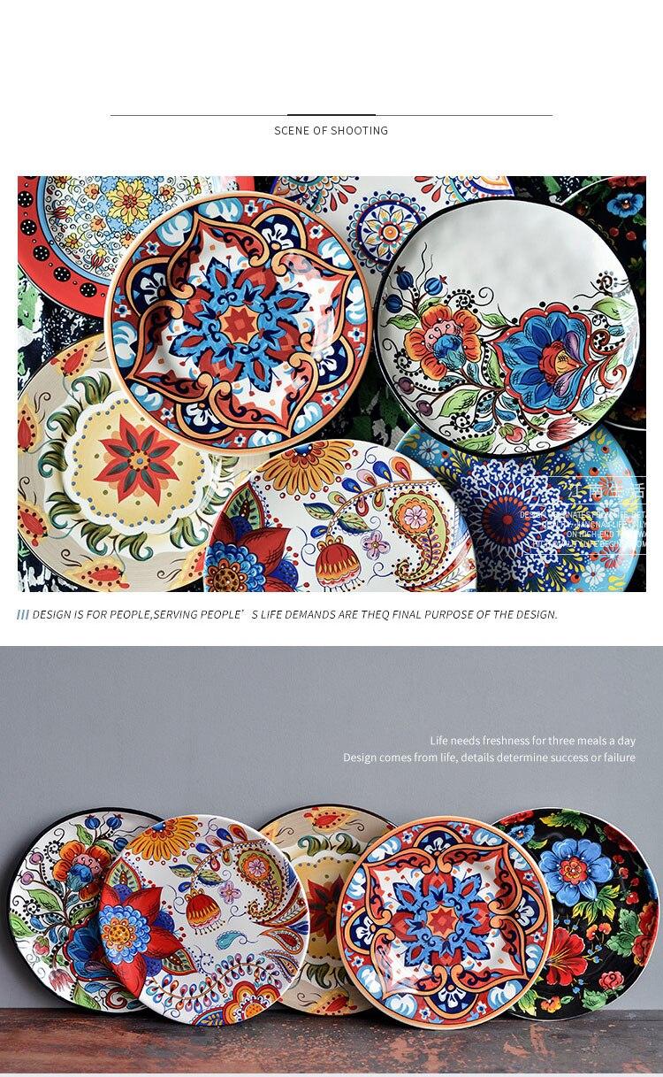 Underglaze ceramic tableware Bohemian style domestic dishes Creative Western dishes Cake dessert plate steak plate