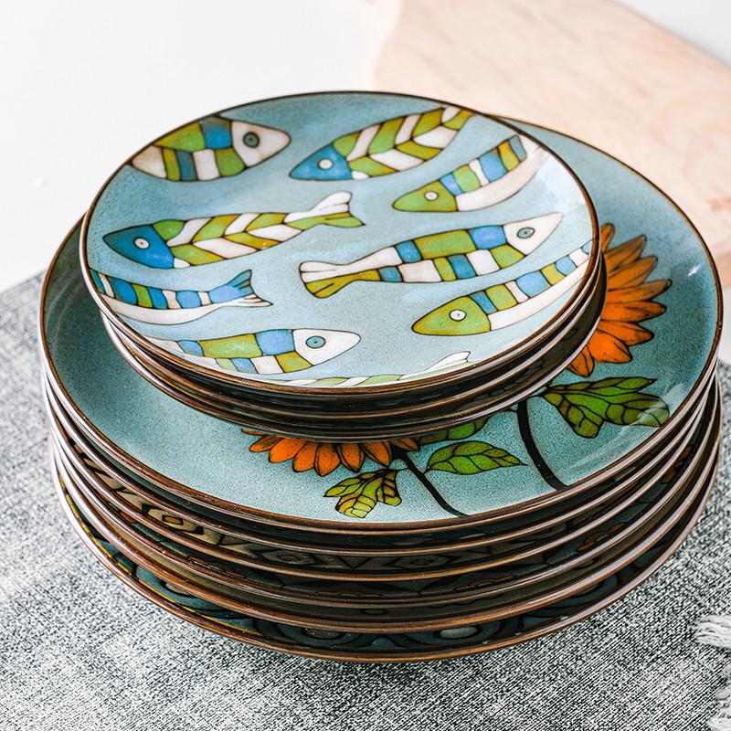 Creative Hand-painted Under Glazed Round Ceramic Tableware European Dinner Dessert Plate Steak Salad Snack Cake Plates Tableware