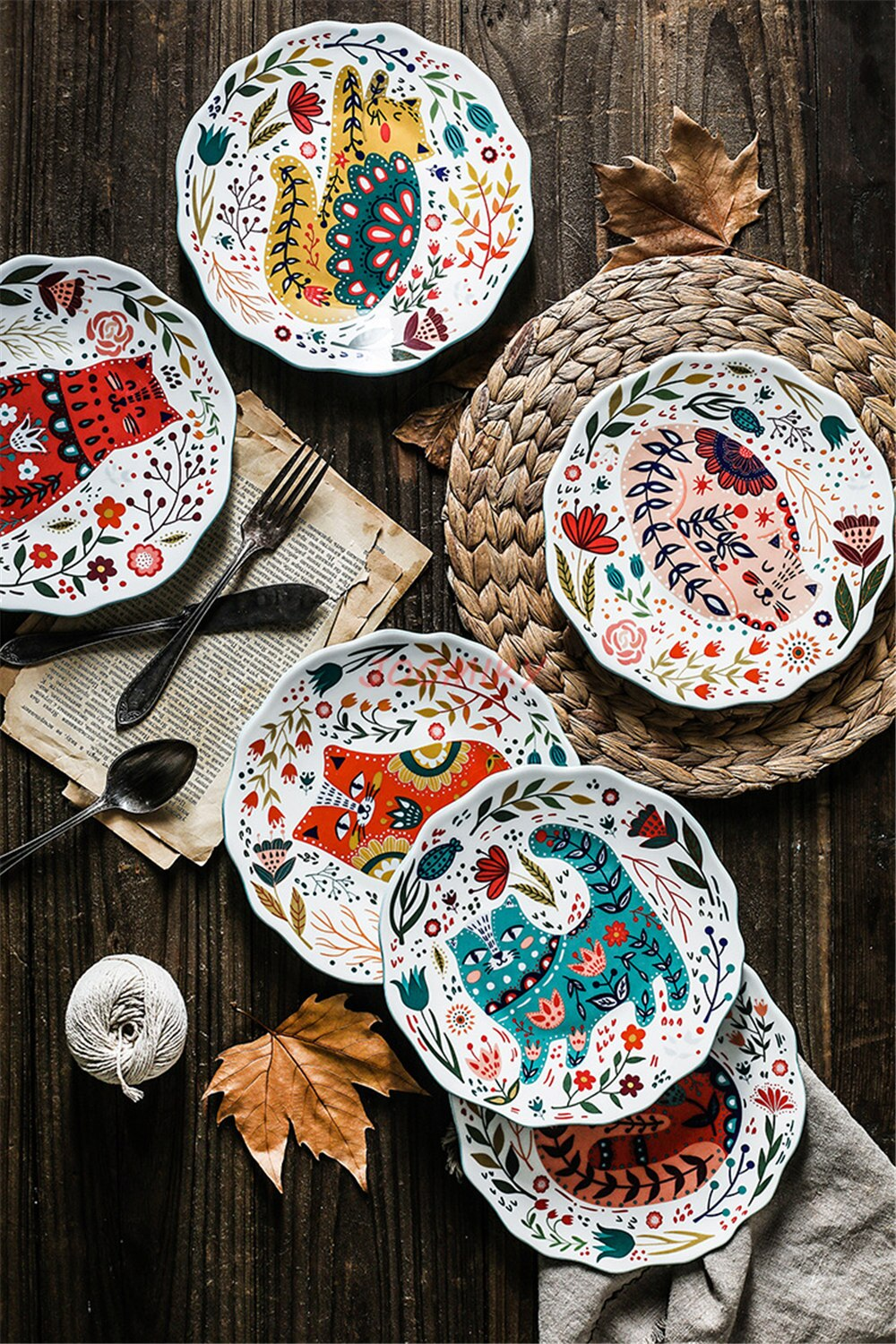 4Pcs/lot Ceramic Plate 8 inch Round Dishes Cartton Cat Plate Hand PaintedTableware Dinner Plates Dessert Plate Steak Tray Sets