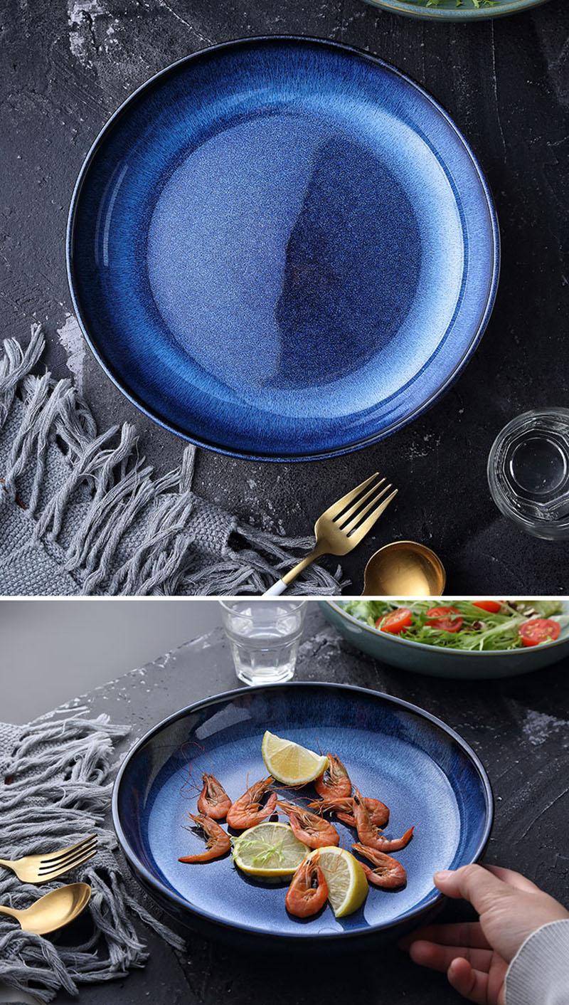 KINGLANG Japanese Ceramic Deep Round Dish Soup Pasta Plate Family Salad Fruit Plate Procelain Large Plate