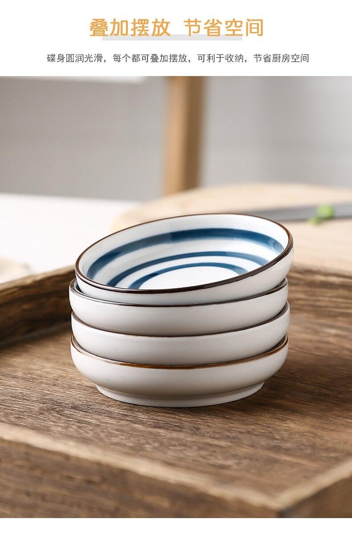 2PCS Japanese Small Plates Underglaze Hand-painted Ceramic Tableware Round Soy Sauce Dish Seasoning Vinegar Snack Dish