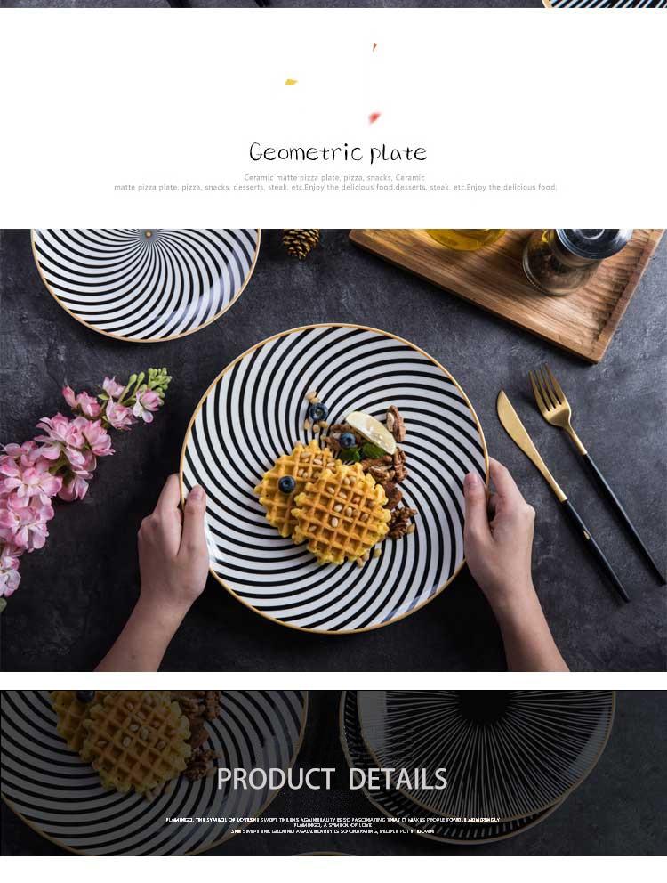 Tableware Phnom Penh Geometry Tableware 6/8/10 Inch Ceramic Dinner Plate Dish Porcelain Dessert Plate Dinnerware Cake Plate