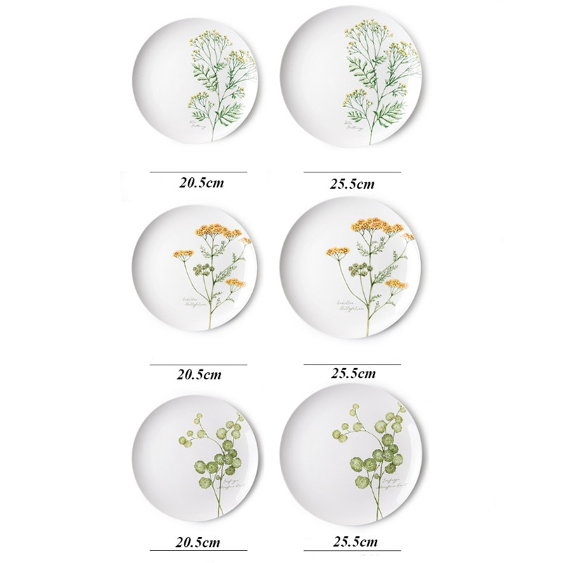 Nordic Plant Pattern Dish White Porcelain Dinner Plate Creative Fruit Steak Plate Ceramic Dessert Tray Bone China Tableware