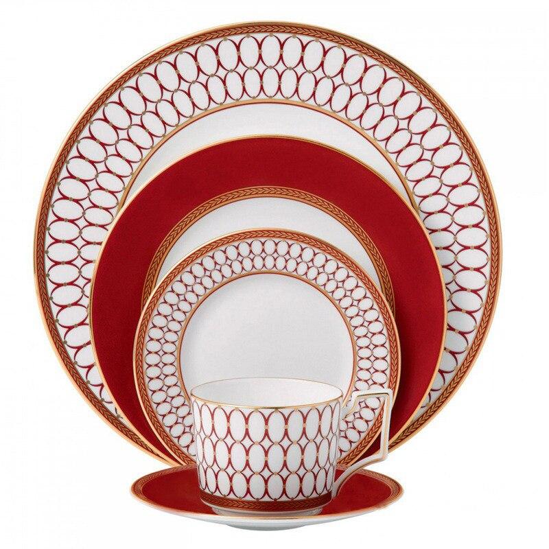 European Style Elegant Red Ceramics Steak Plate Dinner Plate Tea Cup Saucer Bone China Family Dinnerware Christmas Gifts 1Pcs