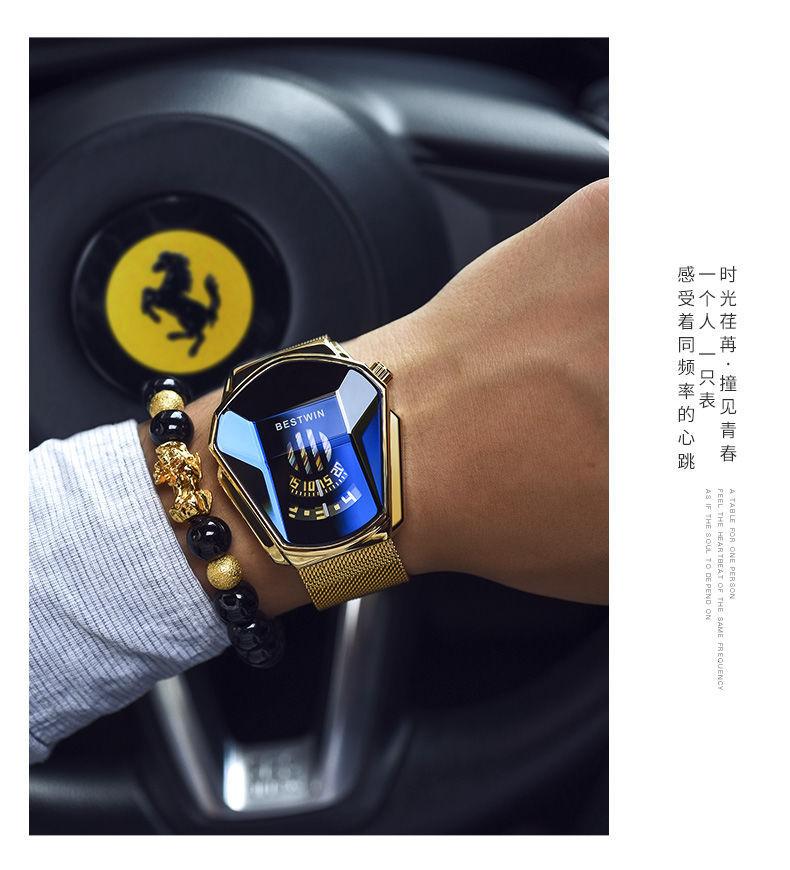 Luxury Fashion Trend Sports Men's Watch Casual Steel Band Black Technology Watch Milano Waterproof Quartz Watches