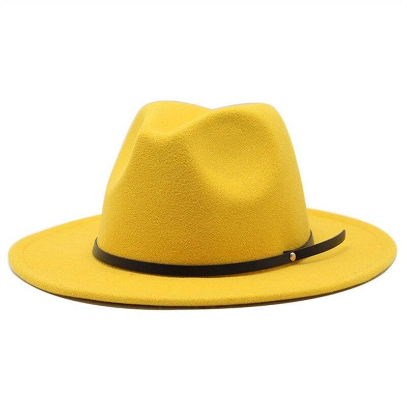 Fedora Hat wool Autumn Winter classic Women Men Gangster Wide Brim Hat Trilby Chapeau Feutre Femme Elegant Church Hats felt Hat