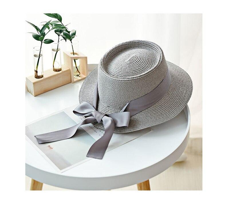 Women Sun Hats UV Protective Outdoor Beach Ribbon Bowknot Fashion Straw Hat Female Luxury Brand 2020 Weave Round Top Women's Hat