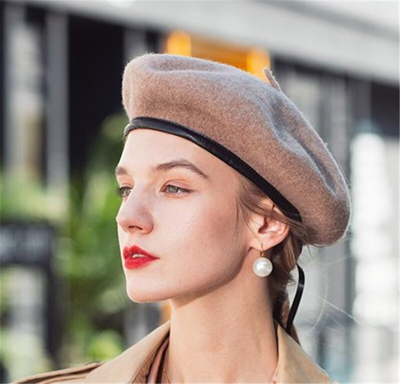 Beanie Hat Frence Artist Warm Wool winter Women Girl Beret Leather edging Vintage Plain Beret Hats Solid Color military bonnets