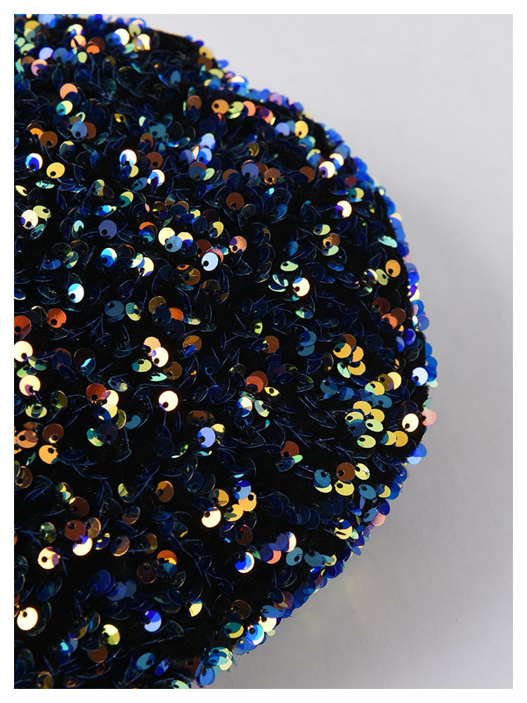 New Ladies Sequin Beret Hand-stitched Shining Embroidery Painter Hat Women Black French Cap Fashion Women Pillbox Fascinators