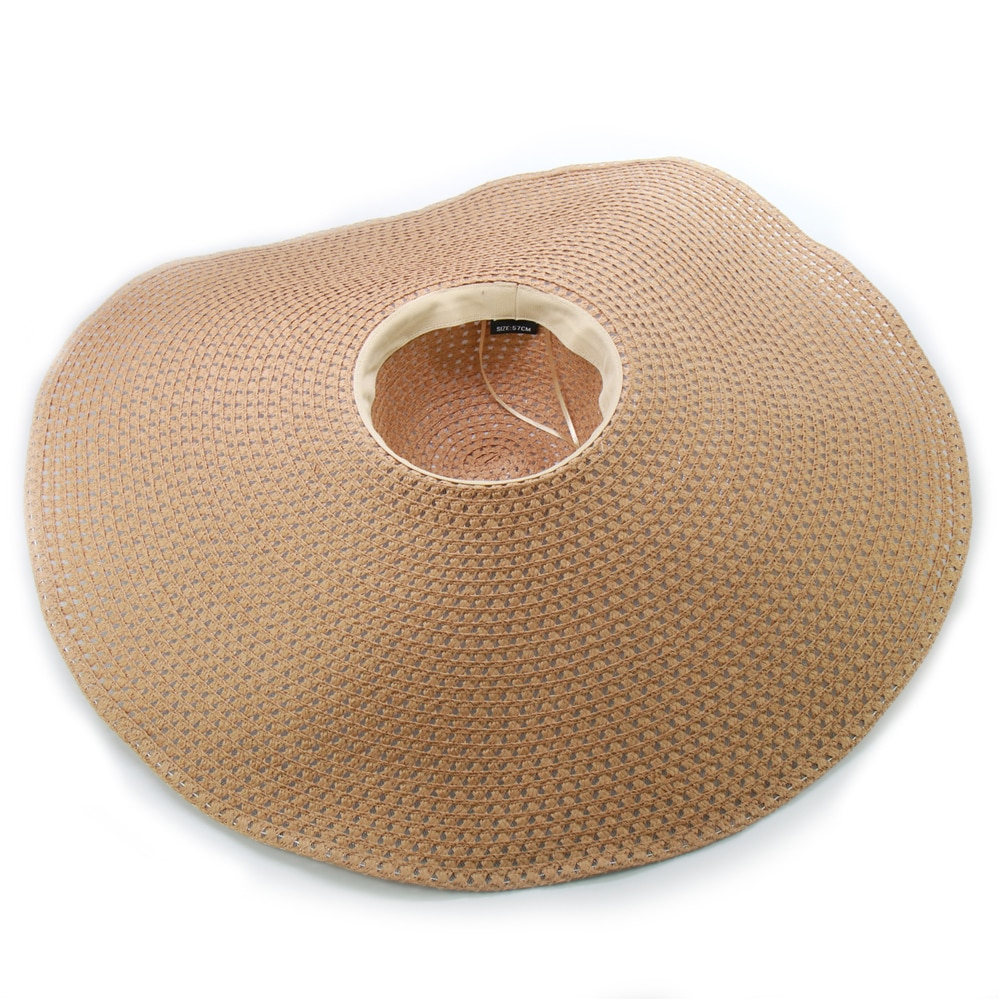 ins Handmade Knitted Hollow Women Big Brim Sun Hat Breathable Cool Ladies Summer UV Hat Beach Hats foldable Dropshipping