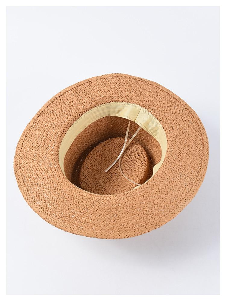 New Handmade Straw Beach Hat For Women Summer Holiday Panama Cap Fashion Concave Flat Sun Protection Visor Hats Wholesale