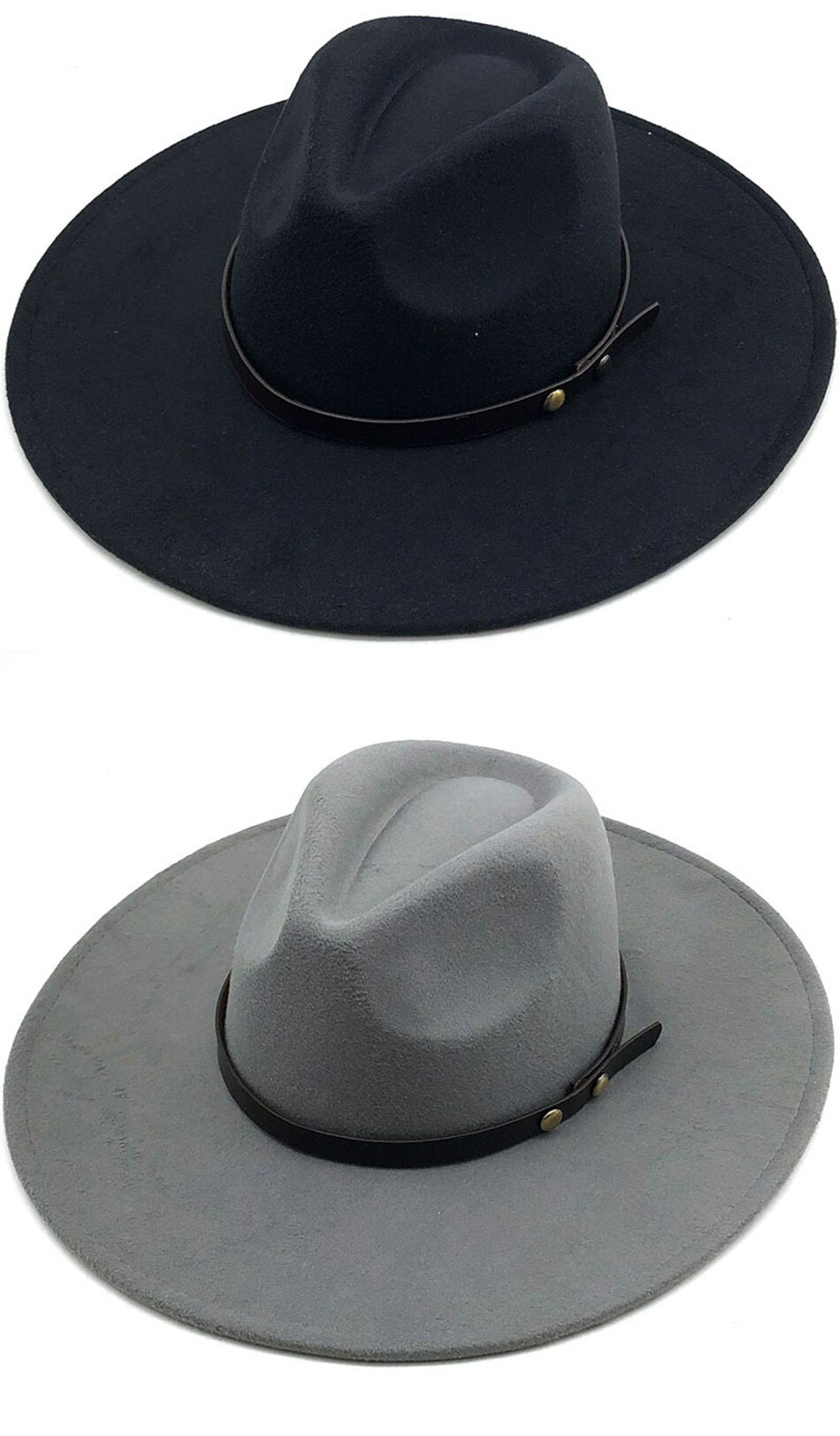 FS 2020 Winter Wool Solid Fedoras Cap For Men Women Panama Jazz Hat Wide Brim Big Church Hats With Leather Ribbon Chapeau Femme