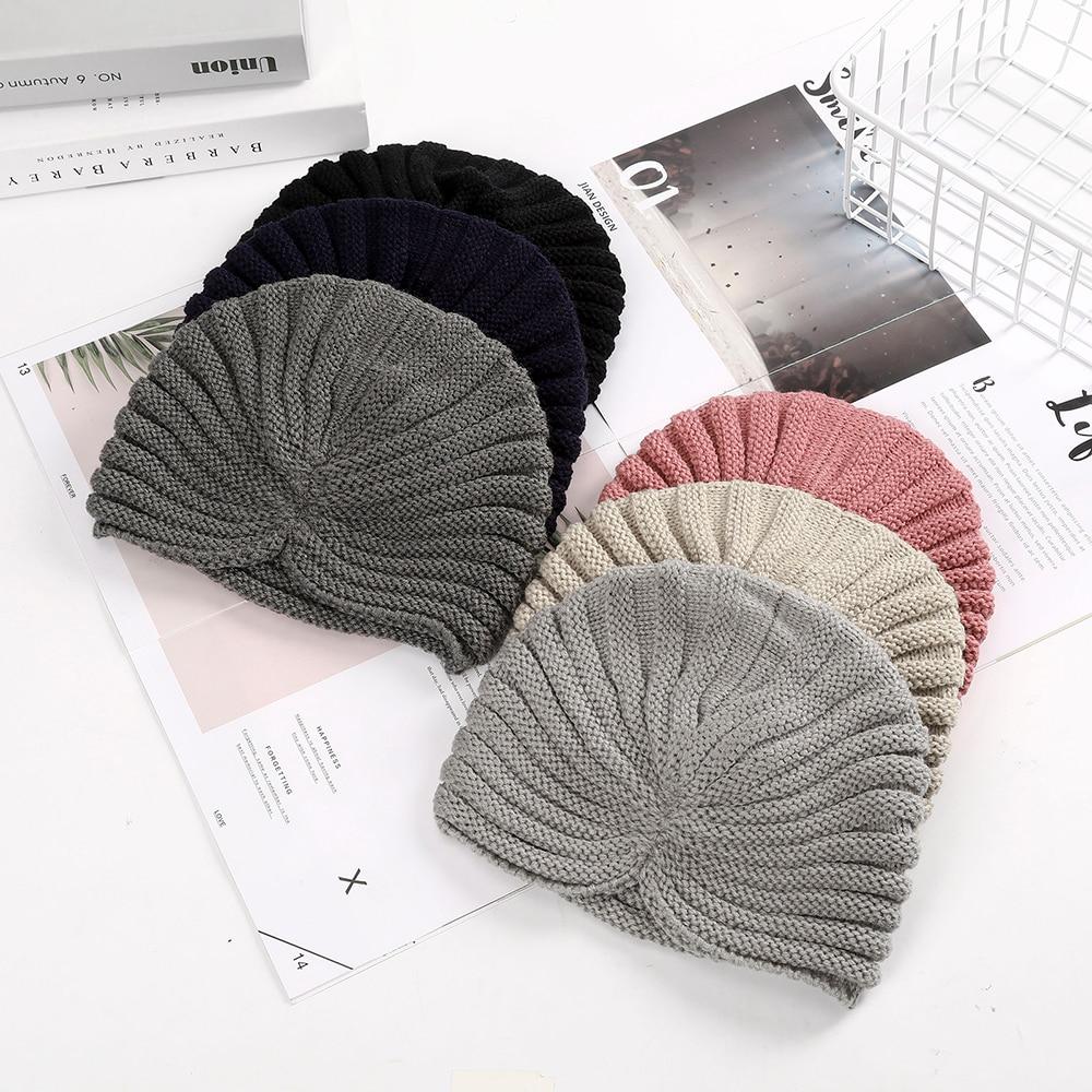 Haimeikang Women New Bandanas Turban Winter Knit Turban Cap Center Cross Hair Scarfs Boho Knotted Warm Headband Muslim Hat