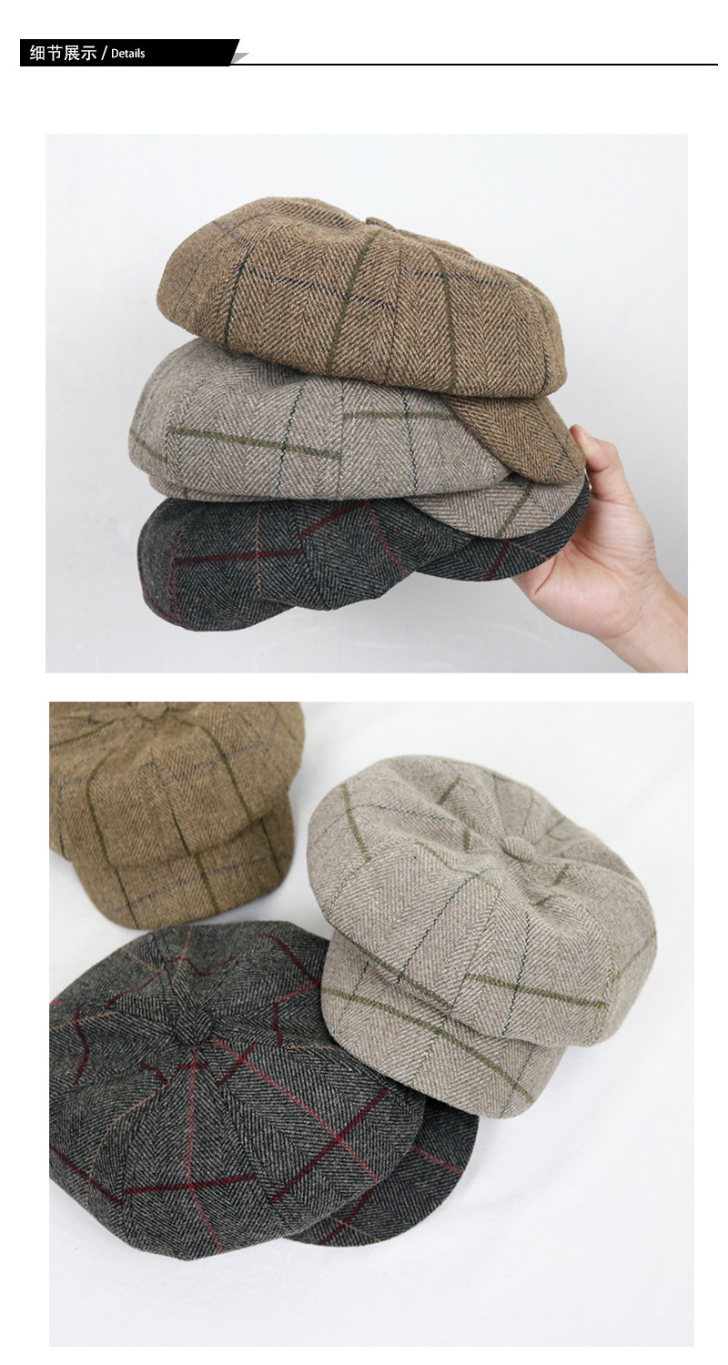 Plaid Newsboy Cap Octagonal Hats For Women Classic Vintage Beret Autumn Winter Hats For Ladies Girl Beret Hat Female