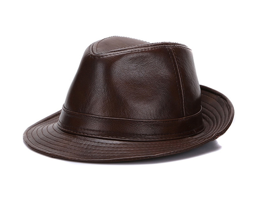2020 New Brand Men Real Genuine Cowhide Leather Top Hats Autumn Winter Warm Real Cowhide Leather Caps Real Leather Fedoras Cap