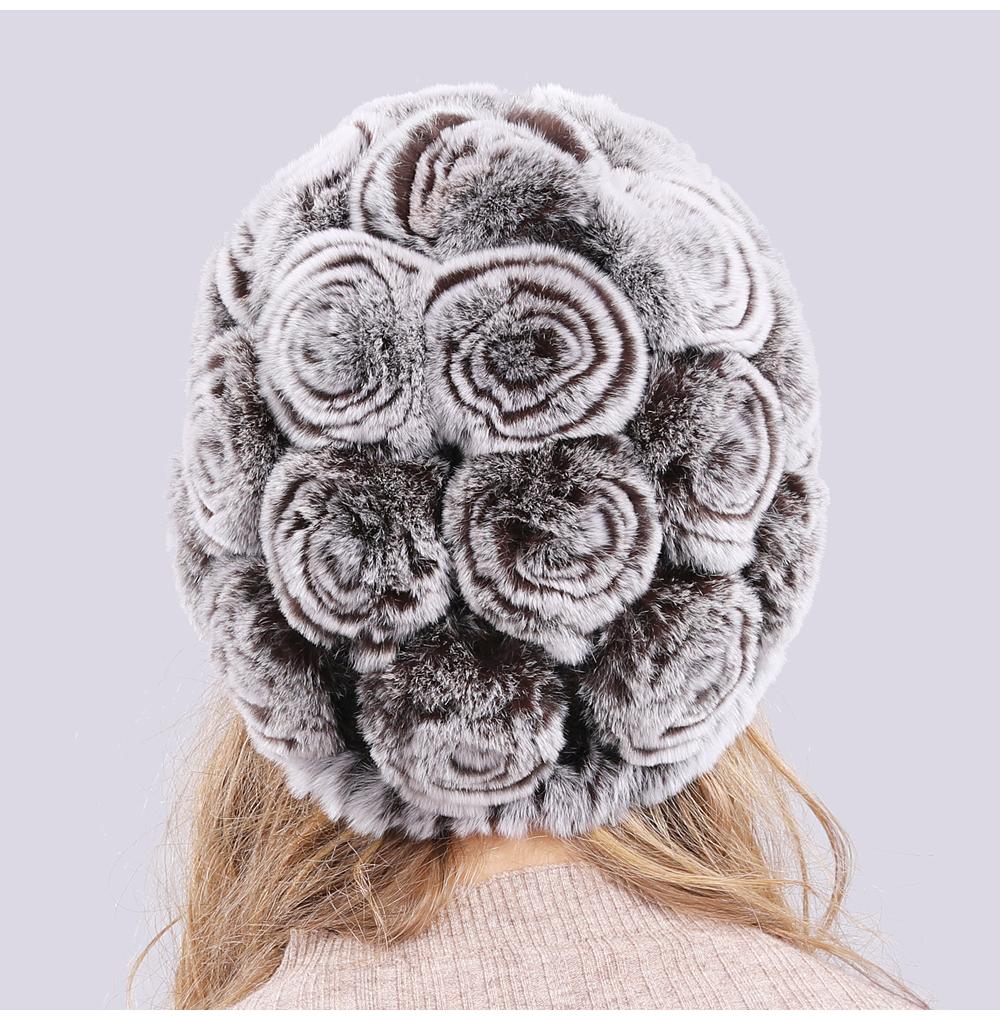 Hot Sale 100% Real Genuine Rabbit Fur Cap Winter Natural Real Rex Rabbit Fur Skullies Hat Quality Women Real Fur Beanies Hats